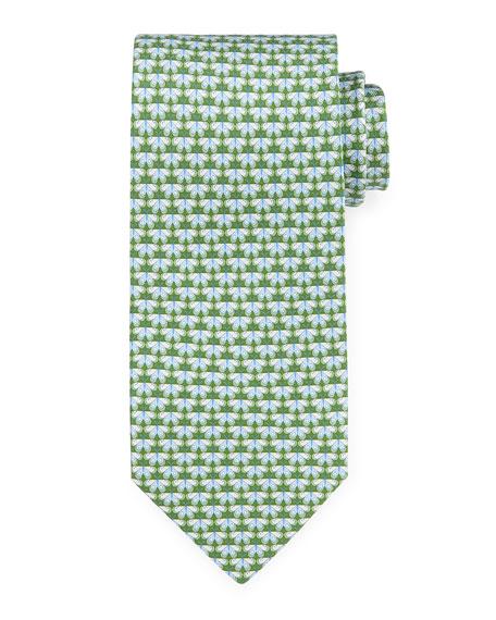 Butterfly-Print Silk Tie, Green/Blue
