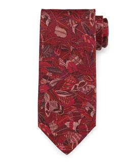 Plume-Print Silk Tie, Red