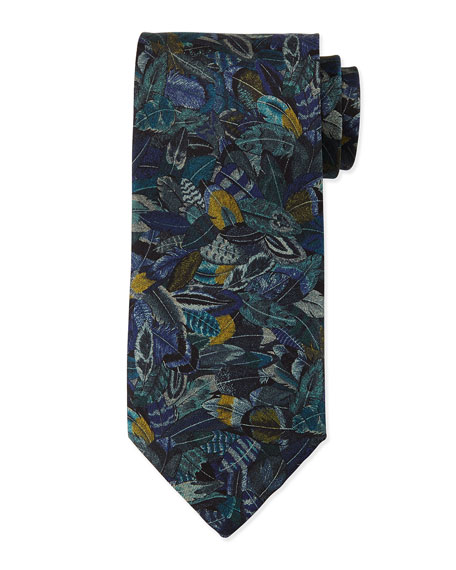 Plume-Print Silk Tie, Gray
