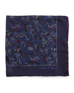 Plume-Print Silk Pocket Square, Blue