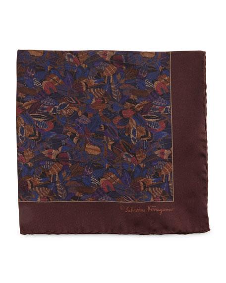 Plume-Print Silk Pocket Square, Violet