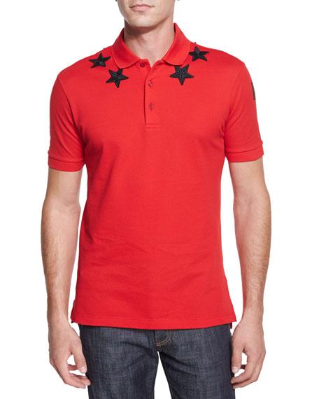 Star-Print Knit Polo Shirt, Red