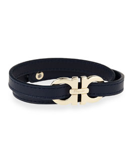 Men's Gancini Leather Wrap Bracelet, Navy