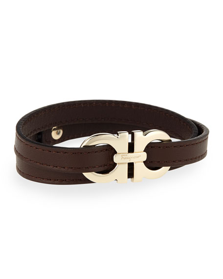Men's Gancini Leather Wrap Bracelet, Brown