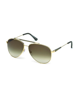 Rick Aviator Sunglasses, Rose Gold