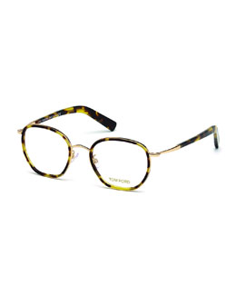 Acetate/Metal Eyeglasses, Shiny Havana