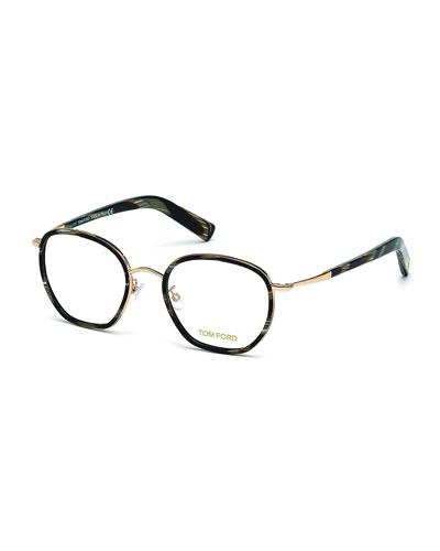 Acetate/Metal Eyeglasses, Black Horn