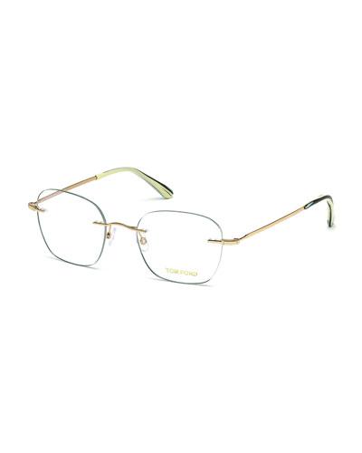 Shiny Metal Wood Effect Eyeglasses