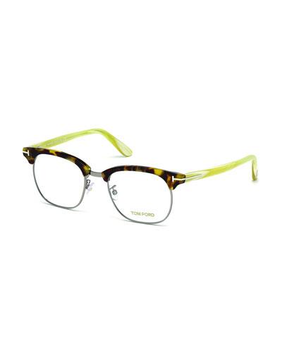 Acetate/Metal Eyeglasses, White Horn