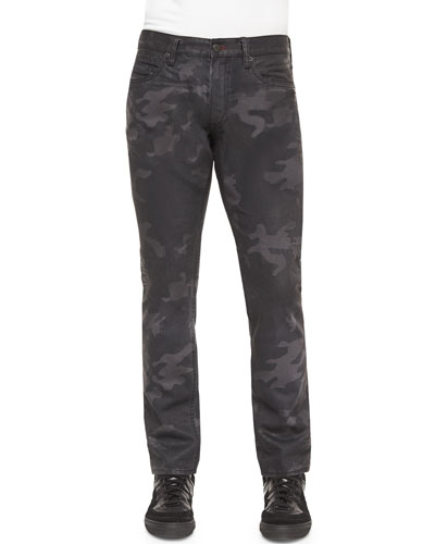Camo-Print Slim Fit Jeans, Black
