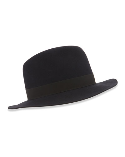 Burt Fedora Hat, Blue/Black