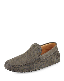 Nubuck Animal-Print Driver, Gray
