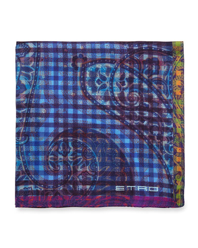 Paisley-Print Silk Pocket Square, Blue