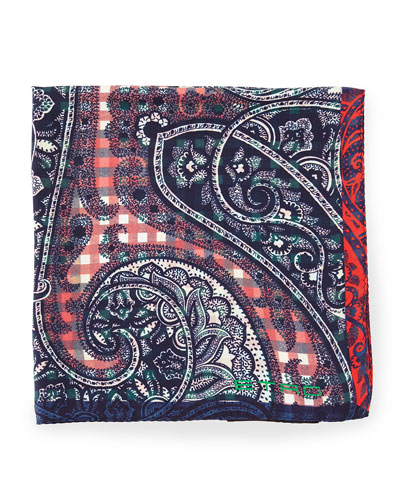 Silk Paisley-Print Pocket Square, Yellow/Green