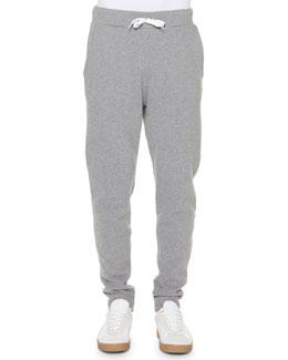 Lightweight Fleece Drawstring Sweatpants, Gray