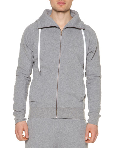 Fleece Zip-Up Hoodie, Gray
