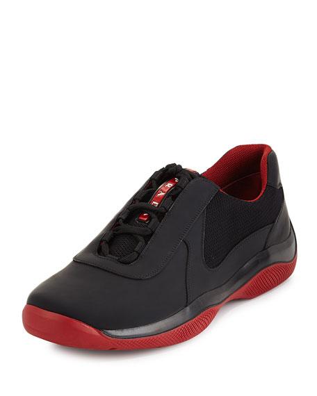 Punta Ala Leather Sneaker, Black/Red