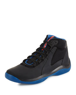 Punta Ala Mesh & Leather High-Top Sneaker, Blue/Black