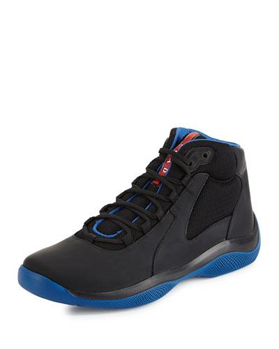 Mesh & Leather High-Top Sneaker, Blue/Black