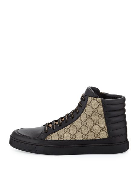 gucci high top sneakers. common leather high-top sneaker, black/beige gucci high top sneakers