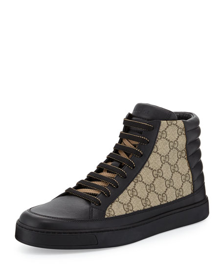 df005416fd1 Gucci Men's Common Leather High-Top Sneakers, Black/Beige