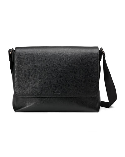 Leather Medium Flap Messenger Bag, Black