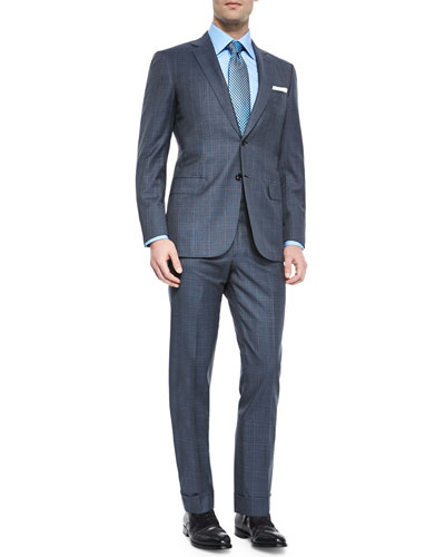 Super 150s Plaid Two-Piece Suit, Gray/Blue
