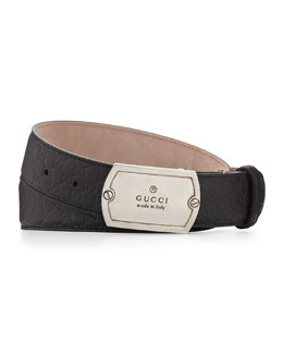 Guccissima Leather Plaque Belt, Black