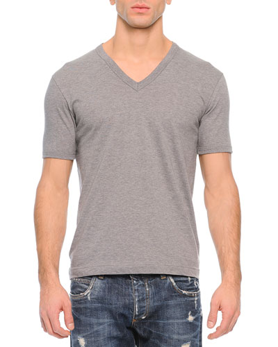Basic V-Neck Tee, Gray