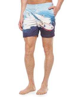 Bulldog Graphic Mid-Length Swim Trunks, Blue