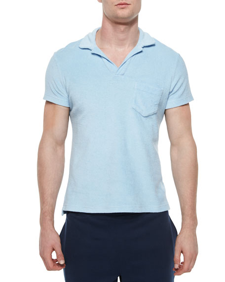 Terry Polo Shirt, Sky Blue