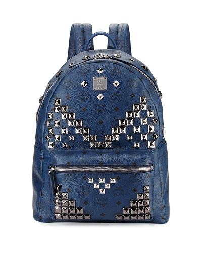Stark M Stud Visetos Medium Backpack, Navy