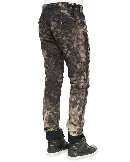 Printed Cargo Biker Jogger Jeans, Black