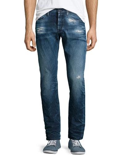 Mambo Stone Wash Denim Jeans, Indigo