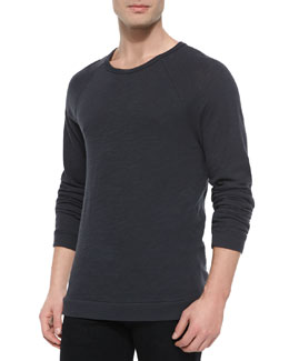 Raglan-Sleeve Knit T-Shirt, Black