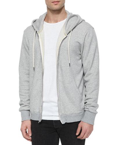Full-Zip Hooded Sweatshirt, Light Gray