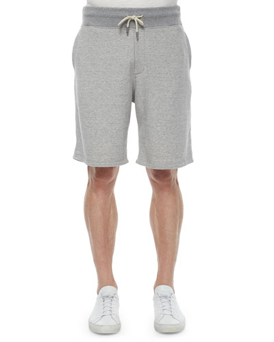 Heather Drawstring Sweat Shorts, Light Gray