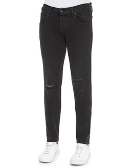 Five-Pocket Distressed Skinny Jeans, Black