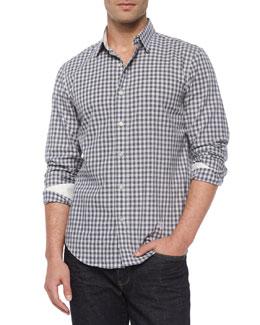 Gingham Check Woven Shirt, Gray