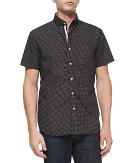 Dot-Print Short-Sleeve Woven Shirt, Black