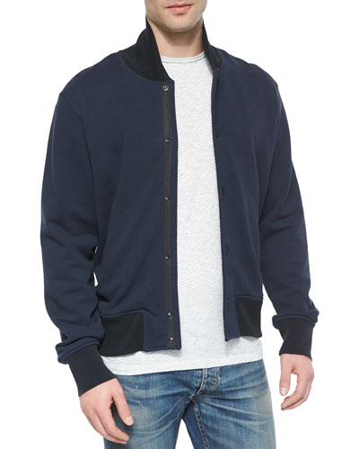 Knit Varsity Jacket, Navy