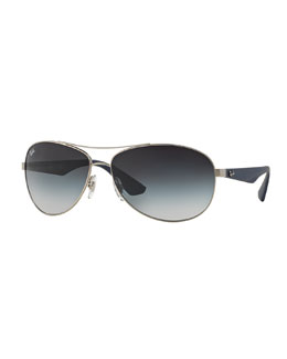 Wire-Frame Metal Sunglasses, Antique Silver