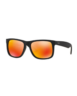 Flat-Top Plastic Sunglasses with Mirror Lenses, Brown