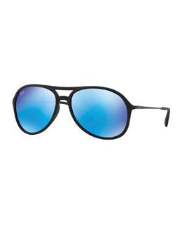 Aviator Sunglasses with Mirror Lenses, Blue/Green