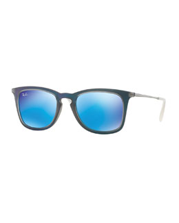 Wayfarer Plastic Sunglasses, Blue/Gray