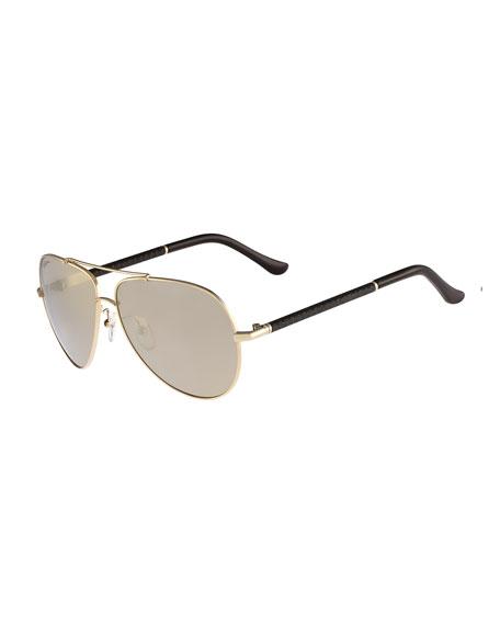 Gancio Aviator Sunglasses, Gold