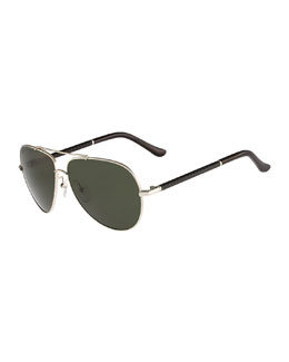 Gancino Aviator Sunglasses, Light Gold