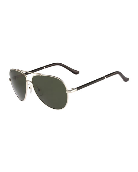 Gancio Aviator Sunglasses, Light Gold