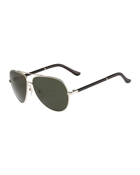 Gancio Aviator Sunglasses, Light Gold