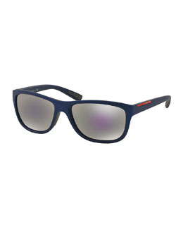 Matte Rectangular Plastic Sunglasses, Blue